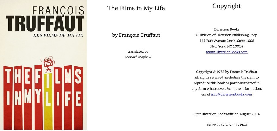 정성일 평론가가 출처로 지목한 'The Films in My Life(Francois Truffaut, Diversion Books)'